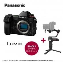 LUMIX DC-S1E-K Full-Frame tükörnélküli fényképezőgép váz - 24,2MP, + Zhiyun Webill S stabilizátor