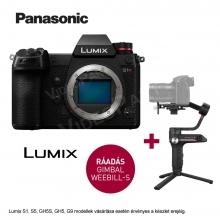 LUMIX DC-S1RE-K Full-Frame tükörnélküli fényképezőgép váz - 47,3MP,  + Zhiyun Webill S stabilizátor