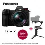 LUMIX DC-S1RME-K Full-Frame tükörnélküli fényképezőgép váz és 24-105mm optika - 47,3MP, + Zhiyun Webill S stabilizátor