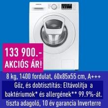 Samsung WW80T4520TE elöltöltős mosógép Add Wash™, Higiénikus Gőz és Dobtisztítás technológiával