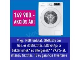Samsung WW90TA046TE/LE elöltöltős mosógép Eco Bubble™ és Higiénikus Gőz technológiával