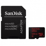 SanDisk 128GB MicroSD kártya + adapter, CL10, 80Mbps