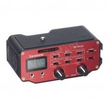 2 csatornás terep-hangkeverő XLR, nagyJack, miniJack, előerősítő, +3V, +5V, +48V, line / mic. fejhallgató, LCD kijelző, 9V elemről, állványra rögzíthető