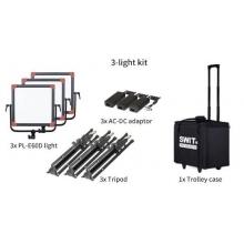 hordozható 3 lámpás szett állvánnyal, tápegységgel, hordkofferrel, 3x 1500lx, DMX vezérelhető