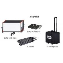 hordozható 3 lámpás szett állvánnyal, tápegységgel, hordkofferrel, 3x 2200lx, DMX vezérelhető