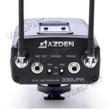 AZDEN 330UPR-CE, UHF vezetéknélküli 2 csatornás kamera hangvevõegység LCD kijelzõvel - XLR / miniJack csatlakozó