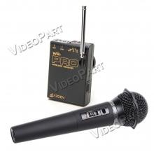 VHF vezetéknélküli kamera-mikrofon szett kézi mikrofonnal - miniJack csatlakozó