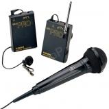 VHF vezetéknélküli kamera mikrofon szett klipsz- és kézi mikrofonnal - miniJack csatlakozó